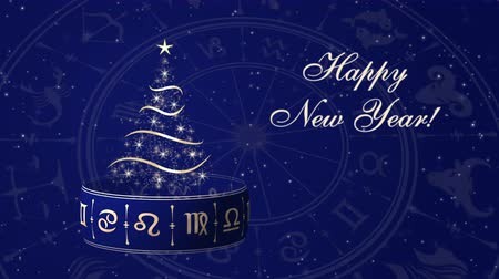 Happy New Year with Christmas tree and Horoscope wheel, zodiac circle on the dark background with glowing particles Stock Footage