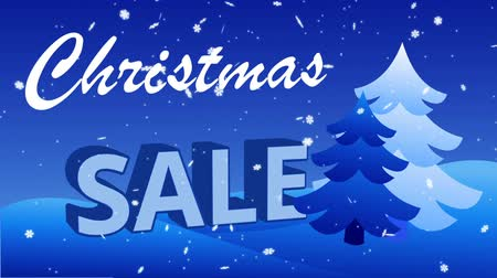 Christmas Sale with falling snowflakes and Christmas trees