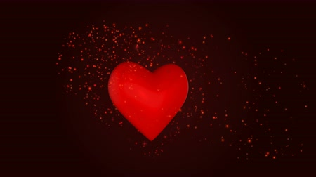 Happy Valentines Day with heart and glowing particles Stock Footage