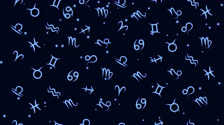 csillagjóslás : Abstract background with Zodiac signs Stock mozgókép