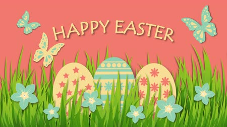 Happy Easter with eggs, flowers and butterflies Stock Footage