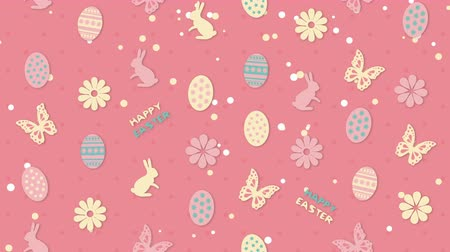 Background Happy Easter with eggs, flowers and butterflies Stock Footage