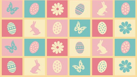 tojás : Background Happy Easter with eggs, flowers and butterflies Stock mozgókép