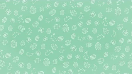 Easter rotating background pattern with eggs and hares