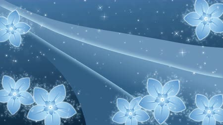 Blue background with a flowers and glowing particles