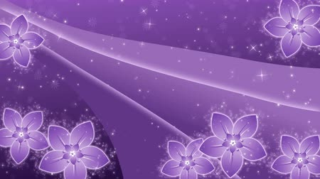 Purple background with a flowers and glowing particles Stock Footage