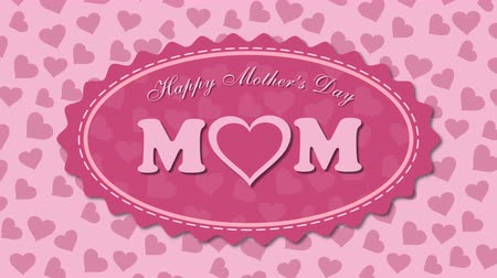 Happy Mothers Day with hearts on the pink background