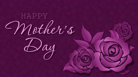 Happy Mothers Day with roses on the dark pink background Stock Footage