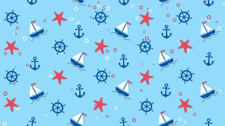 Sea background pattern with ships, starfishes and anchors Stock Footage