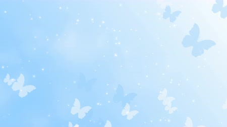 Light blue background with butterflies