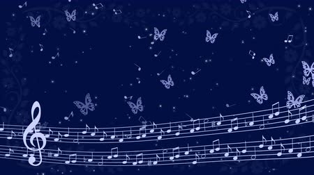 Abstract music background with notes and butterflies