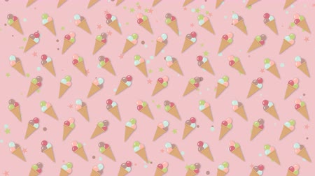 gofre : Ice cream moving background pattern Archivo de Video