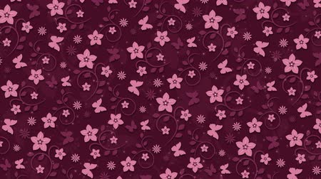 motyl : Dark pink background with flowers and butterflies