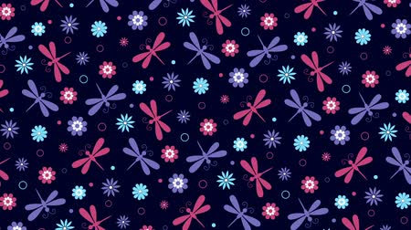 libélula : Colorful background with flowers and dragonflies