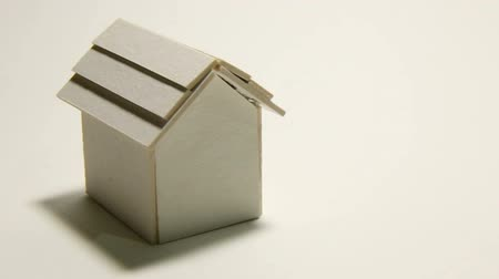 image house : The House white model on white background footage camera movement. Stock Footage