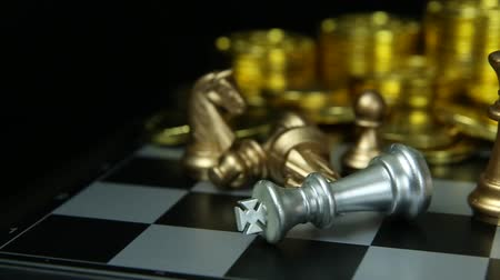 rytíř : The abstract Chess game  board close up footage. Dostupné videozáznamy