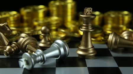 шах и мат : The abstract Chess game  board close up footage. Стоковые видеозаписи