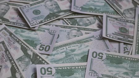 pile of money : Footage United states of America dollar banknotes. Stock Footage