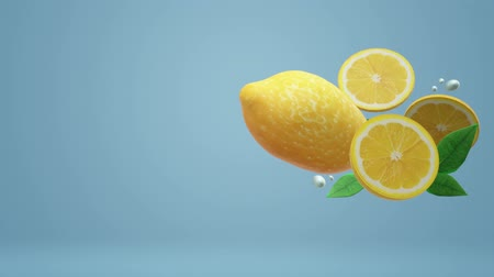 cytryna : The 3d lemon object on blue for food footage. Wideo