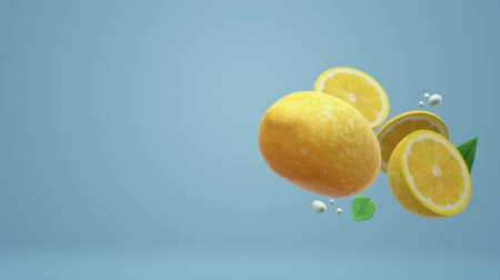 položit : The 3d lemon object on blue for food footage. Dostupné videozáznamy