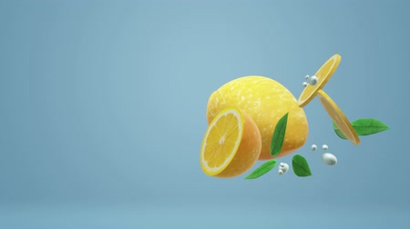 c vitamini : The 3d lemon object on blue for food footage. Stok Video