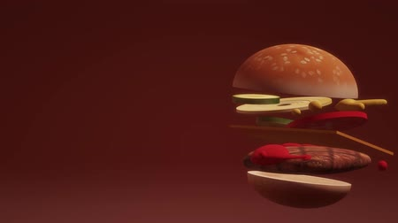 fast food : A 3D Hamburger on red background footage. Stok Video
