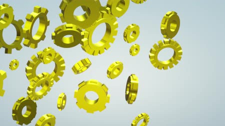 cogwheels : The 3d gold gears footage  for machine content.