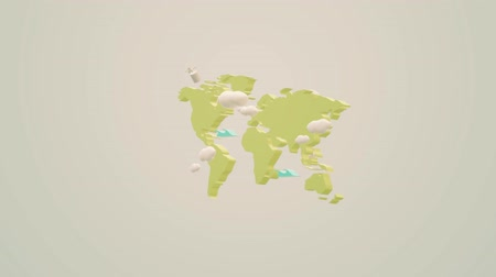 benzer : The world map  3d  rendering  footage  background. Stok Video