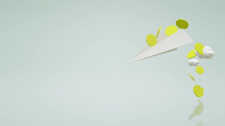 низкий : A 3d rendering Air plane paper and gold coin.