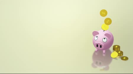 para birimleri : The Piggy bank coin 3d rendering for money content. Stok Video
