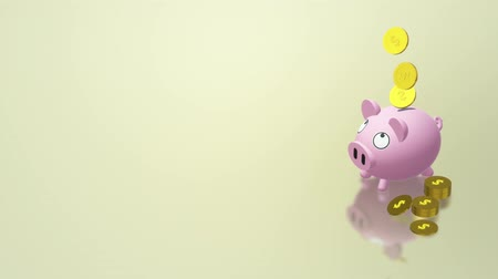 hesap : The Piggy bank coin 3d rendering for money content. Stok Video