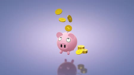 save the animals : The Piggy bank coin 3d rendering for money content. Stock Footage