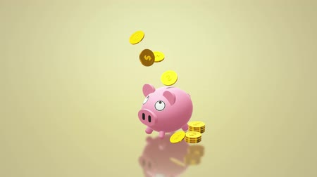 humor : The Piggy bank coin 3d rendering for money content. Stock mozgókép