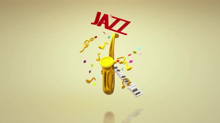 saxofone : The 3d rendering saxophone jazz music festival content.