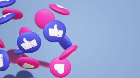 emoticon : The 3d rendering Thumbs up and heart  social media icon. Stock Footage