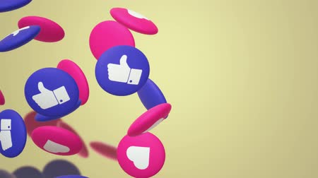 duim : De 3D-rendering Thumbs up en hart sociale media-pictogram.