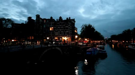 amsterodam : City scenic from Amsterdam in the Netherlands by night