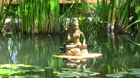shiva : Shiva statue in a pond Stock Footage