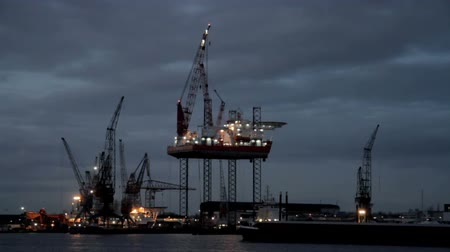 oil industry : Derrick near Amsterdam in the Netherlands by night