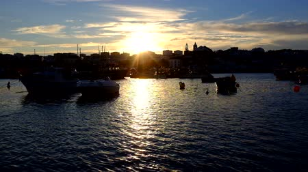 lagos : The harbor in Lagos Portugal at dusk