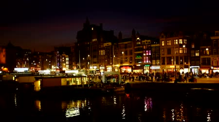 amsterodam : Amsterdam at night in the Netherlands