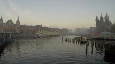 amsterodam : City scenic from Amsterdam in the Netherlands foggy timelapse