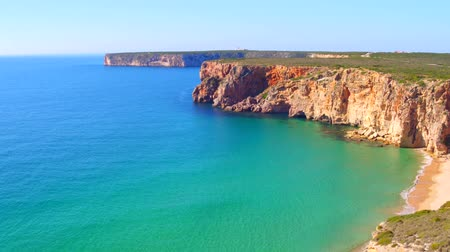 portugalsko : Aerial from rocks and ocean near Sagres in Portugal