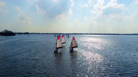Aerial from sailing on Loosdrechtse Plassen in the Netherlands Wideo