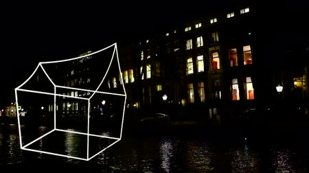 Light Festival in Amsterdam Netherlands at night Wideo