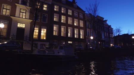 Decorated houses at christmas time in Amsterdam Netherlands at night