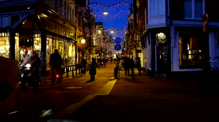 Amsterdam in christmas time in the Netherlands at sunset