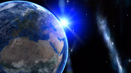 noite : 3d Earth Animation 30. Zooming through space over Europe, Middle East and north Africa .  With shiny lighting effects, flare, stars, clouds and atmosphere. High quality textures