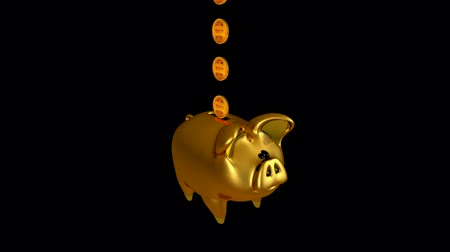 экономить : Cute Piggy Bank. Isolated on black. Alpha matte. Loopable. Gold Rose Green White Blue