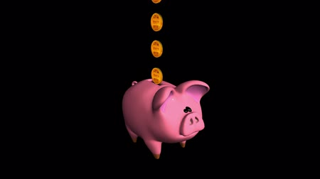 bank : Cute Piggy Bank. Isolated on black. Alpha matte. Loopable. Gold Rose Green White Blue